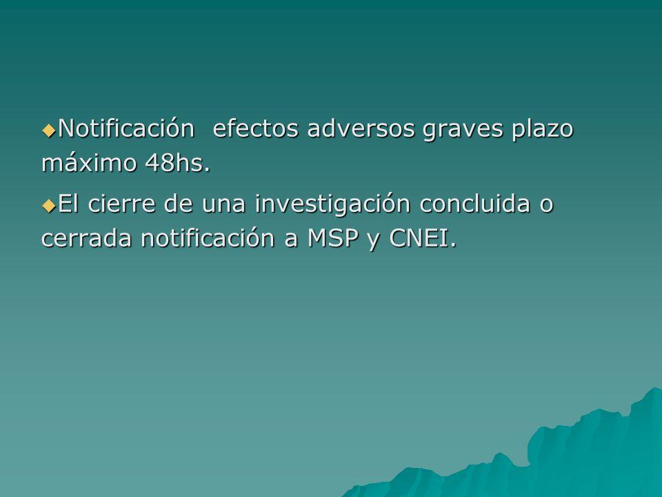 Notificación efectos adversos graves plazo máximo 48hs. Notificación efectos adversos graves plazo máximo 48hs. El cierre de una investigación conclui
