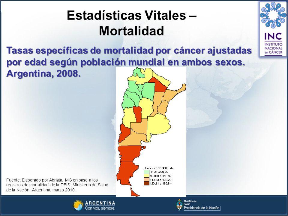 Estadísticas Vitales – Mortalidad Tasas específicas de mortalidad por cáncer ajustadas por edad según población mundial en ambos sexos. Argentina, 200