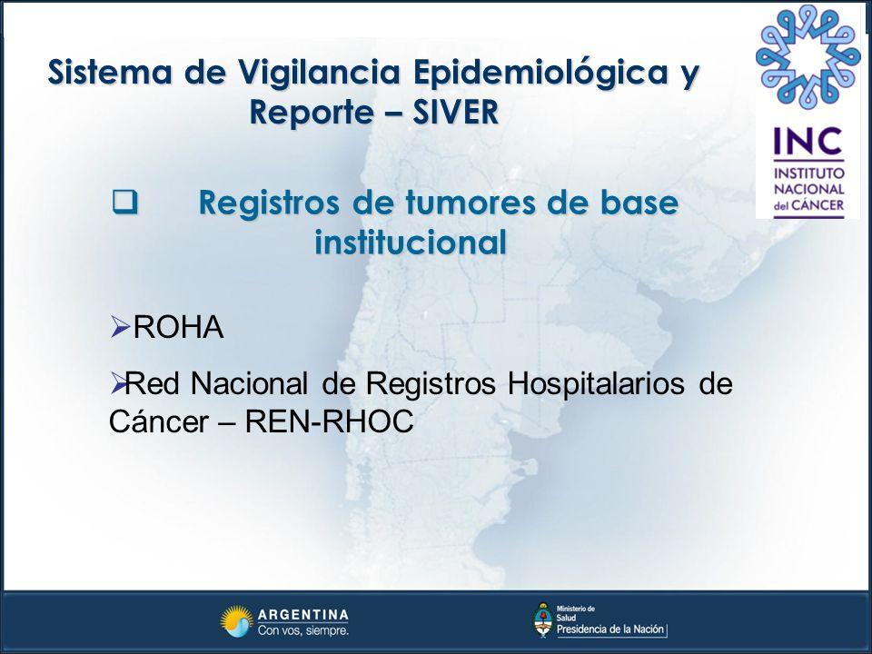 Sistema de Vigilancia Epidemiológica y Reporte – SIVER Registros de tumores de base institucional Registros de tumores de base institucional ROHA Red
