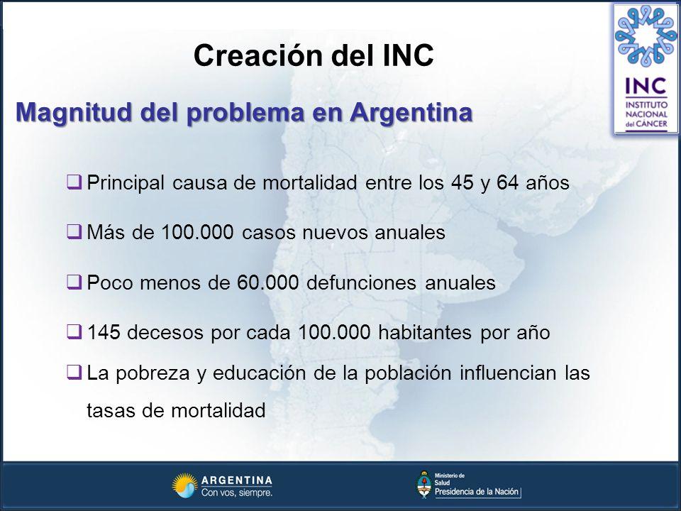 Creación del INC Magnitud del problema en Argentina Principal causa de mortalidad entre los 45 y 64 años Más de 100.000 casos nuevos anuales Poco meno