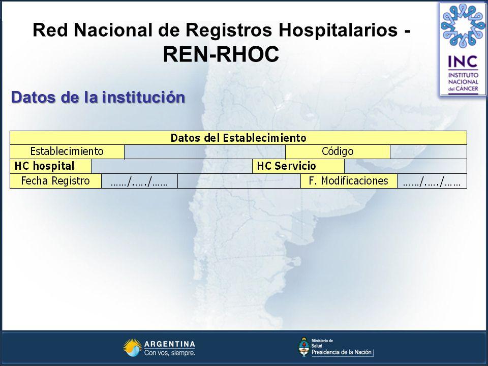 Red Nacional de Registros Hospitalarios - REN-RHOC Datos de la institución