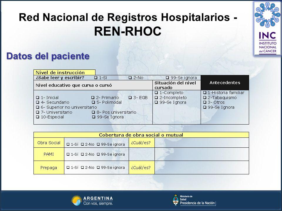 Red Nacional de Registros Hospitalarios - REN-RHOC Datos del paciente