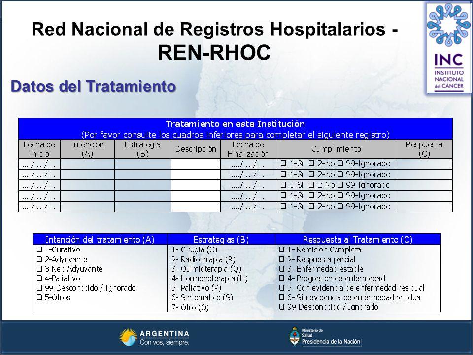 Red Nacional de Registros Hospitalarios - REN-RHOC Datos del Tratamiento
