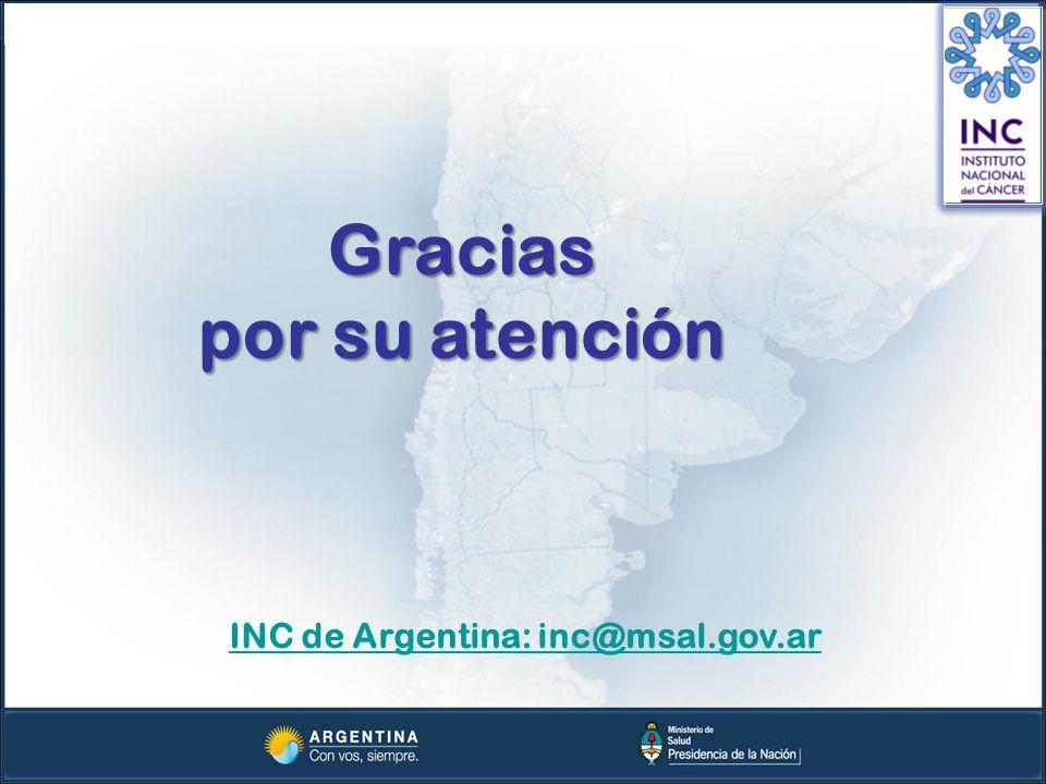 Gracias por su atención INC de Argentina: inc@msal.gov.ar