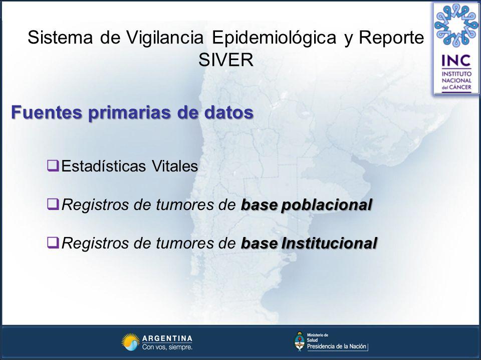 Fuentes primarias de datos Sistema de Vigilancia Epidemiológica y Reporte SIVER Estadísticas Vitales base poblacional Registros de tumores de base pob