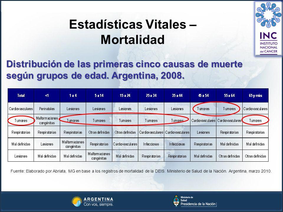 Estadísticas Vitales – Mortalidad Distribución de las primeras cinco causas de muerte según grupos de edad. Argentina, 2008. Fuente: Elaborado por Abr