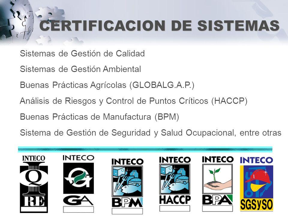 CERTIFICACION DE SISTEMAS Sistemas de Gestión de Calidad Sistemas de Gestión Ambiental Buenas Prácticas Agrícolas (GLOBALG.A.P.) Análisis de Riesgos y