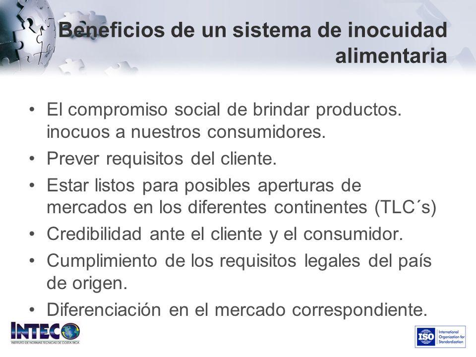 Beneficios de un sistema de inocuidad alimentaria El compromiso social de brindar productos. inocuos a nuestros consumidores. Prever requisitos del cl