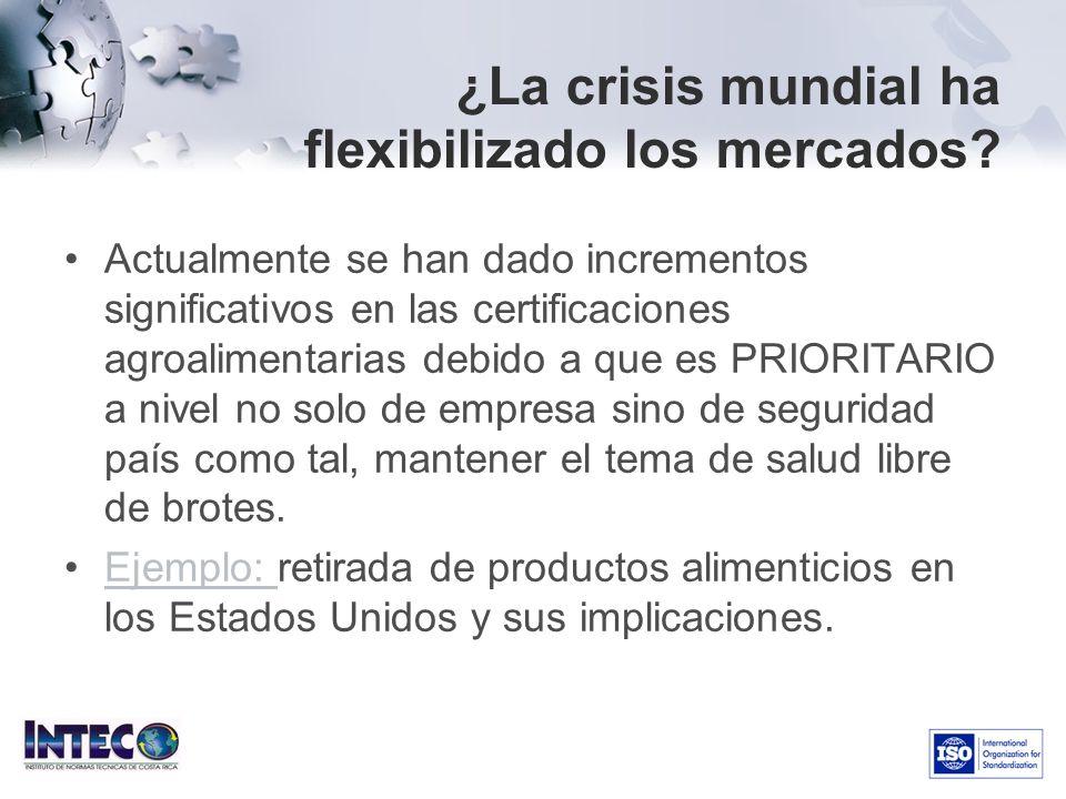 ¿La crisis mundial ha flexibilizado los mercados? Actualmente se han dado incrementos significativos en las certificaciones agroalimentarias debido a