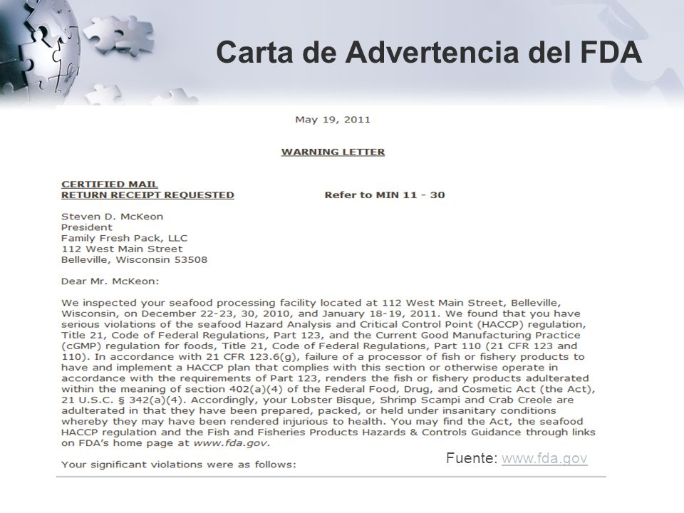 Carta de Advertencia del FDA Fuente: www.fda.govwww.fda.gov