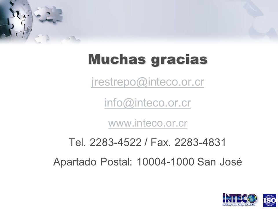 Muchas gracias Muchas gracias jrestrepo@inteco.or.cr info@inteco.or.cr www.inteco.or.cr Tel. 2283-4522 / Fax. 2283-4831 Apartado Postal: 10004-1000 Sa