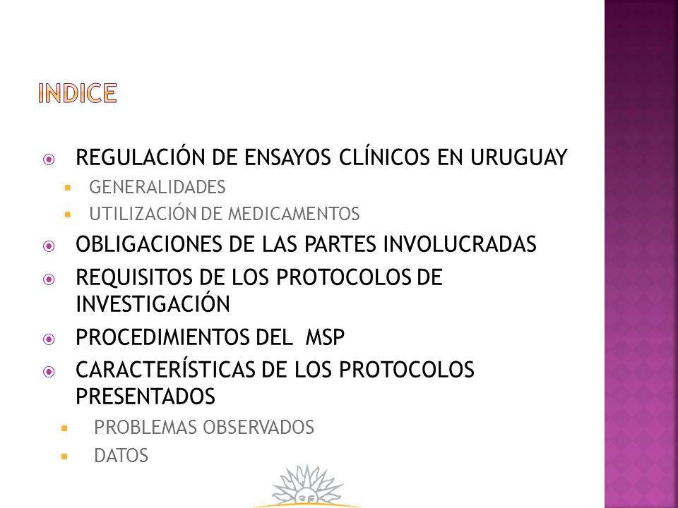REGULACIÓN DE ENSAYOS CLÍNICOS EN URUGUAY GENERALIDADES UTILIZACIÓN DE MEDICAMENTOS OBLIGACIONES DE LAS PARTES INVOLUCRADAS REQUISITOS DE LOS PROTOCOL