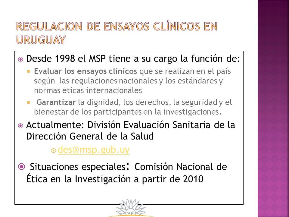 Desde 1998 el MSP tiene a su cargo la función de: Evaluar los ensayos clínicos que se realizan en el país según las regulaciones nacionales y los está