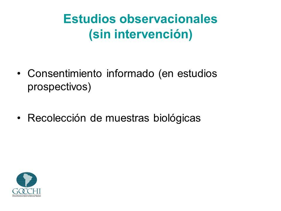 Estudios observacionales (sin intervención) Consentimiento informado (en estudios prospectivos) Recolección de muestras biológicas