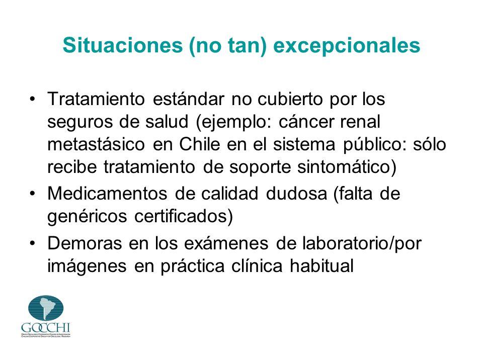 Situaciones (no tan) excepcionales Tratamiento estándar no cubierto por los seguros de salud (ejemplo: cáncer renal metastásico en Chile en el sistema
