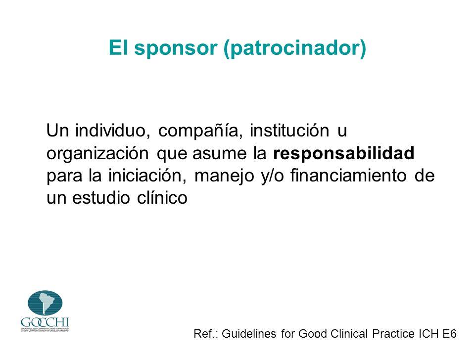 El sponsor (patrocinador) Un individuo, compañía, institución u organización que asume la responsabilidad para la iniciación, manejo y/o financiamient