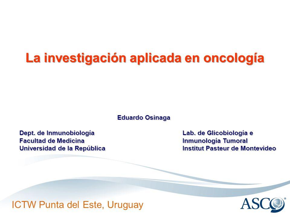 ICTW Punta del Este, Uruguay Aprobados por la FDA para tratamientos oncológicos: NombreTipoBlanco molecular Tipo de cáncer RituximabQuiméricoCD20NHL TrastuzumabHumanizadoErb B2Mama IbritumomabRatón 90YCD20NHL BevacizumabHumanizadoVEGFColo-rectal AlemtuzumabHumanizadoCD52LLC CetuximabQuiméricoEGFRColo-rectal PanitumumabHumanoEGFRColo-rectal OfatumumabHumanizadoCD20LLC Biofármacos anti-tumorales generados a partir de anticuerpos monoclonales Anticuerpo de ratón Anticuerpo quimérico Anticuerpo humanoAnticuerpo humanizado F(ab) 2 scFv biespecífico scFv bivalente Framento scFv Fragmento Fab Ratón humano