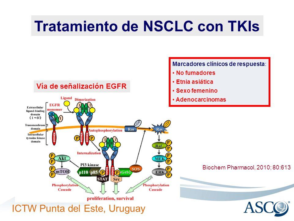 ICTW Punta del Este, Uruguay Tratamiento de NSCLC con TKIs Biochem Pharmacol, 2010; 80:613 Marcadores clínicos de respuesta: No fumadores Etnia asiáti