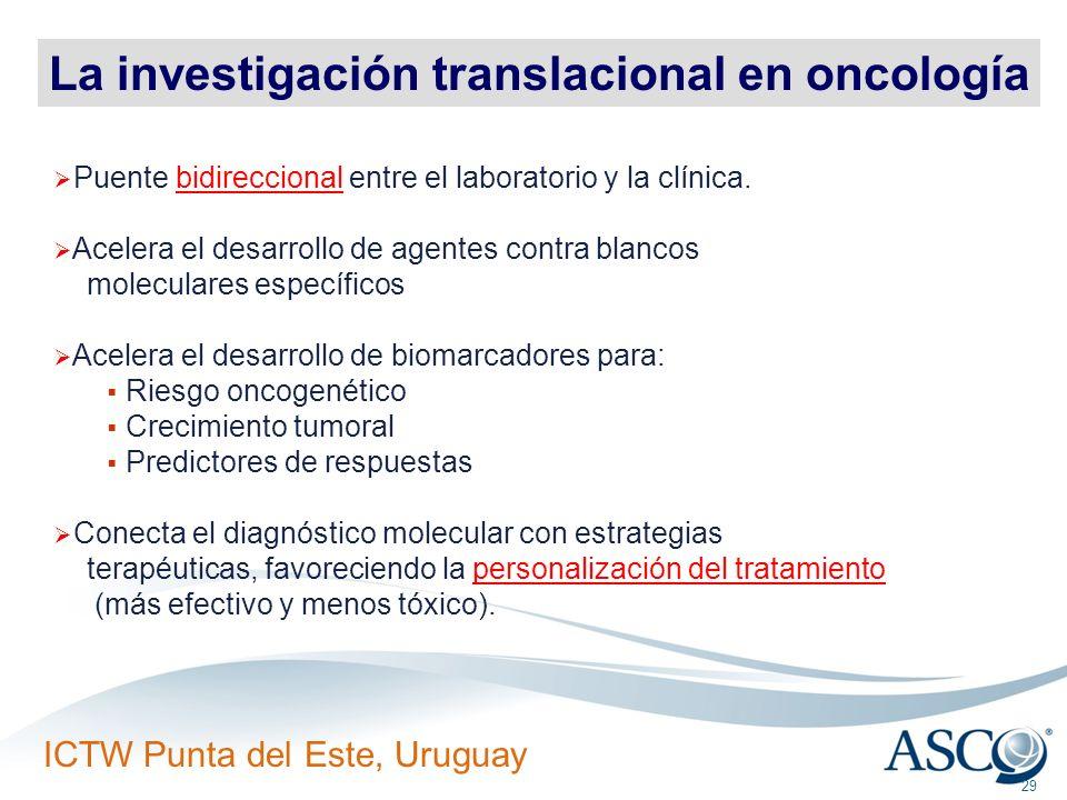 ICTW Punta del Este, Uruguay 29 La investigación translacional en oncología Puente bidireccional entre el laboratorio y la clínica. Acelera el desarro
