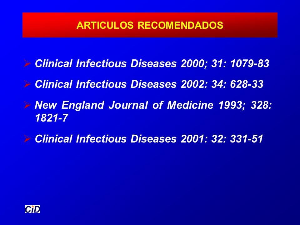 ARTICULOS RECOMENDADOS Clinical Infectious Diseases 2000; 31: 1079-83 Clinical Infectious Diseases 2002: 34: 628-33 New England Journal of Medicine 19