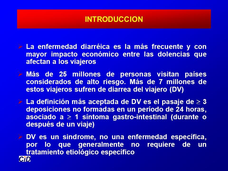 INTRODUCCION La enfermedad diarréica es la más frecuente y con mayor impacto económico entre las dolencias que afectan a los viajeros Más de 25 millon