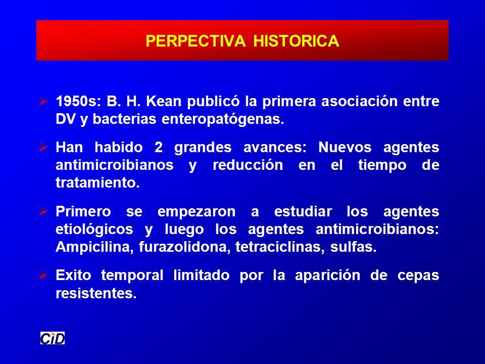 PERPECTIVA HISTORICA 1950s: B. H. Kean publicó la primera asociación entre DV y bacterias enteropatógenas. Han habido 2 grandes avances: Nuevos agente