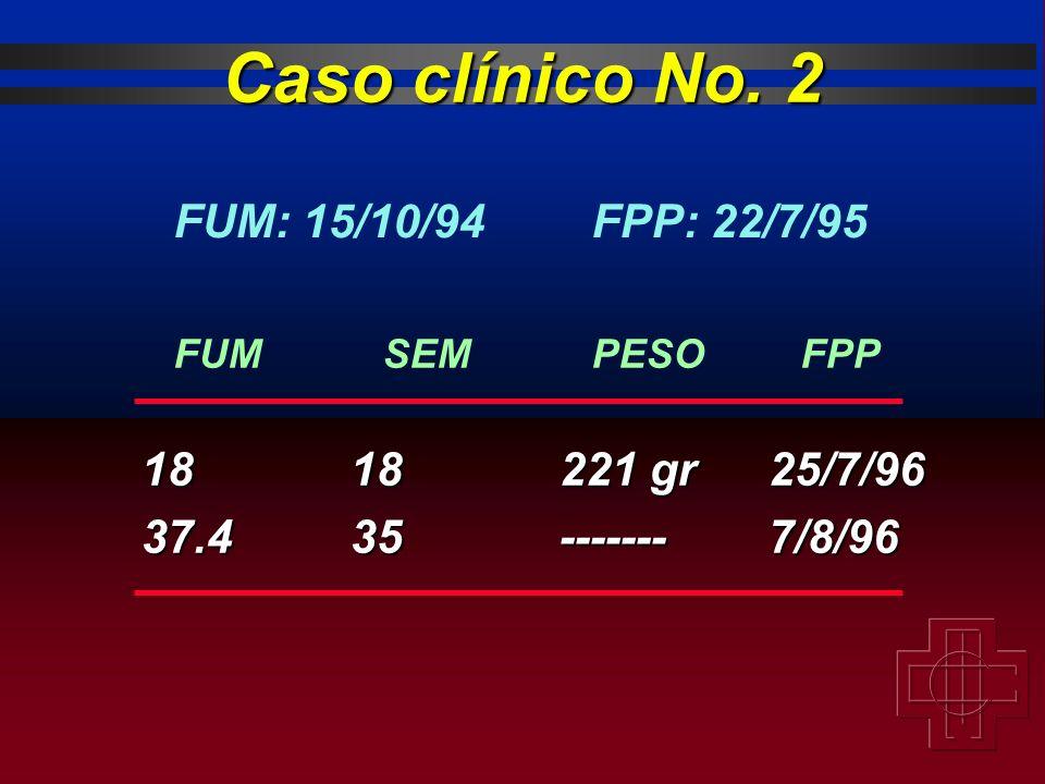 1818221 gr25/7/96 37.435-------7/8/96 FUMSEMPESOFPP Caso clínico No. 2 FUM: 15/10/94FPP: 22/7/95