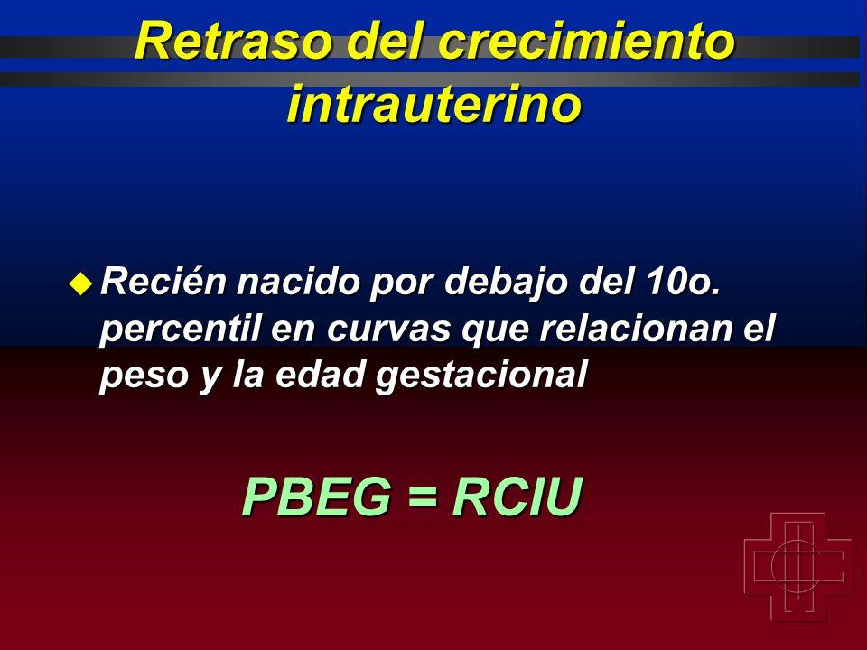 u Recién nacido por debajo del 10o. percentil en curvas que relacionan el peso y la edad gestacional PBEG = RCIU Retraso del crecimiento intrauterino