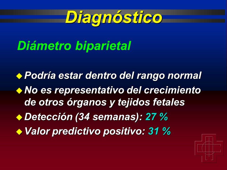 Diagnóstico u Podría estar dentro del rango normal u No es representativo del crecimiento de otros órganos y tejidos fetales u Detección (34 semanas):