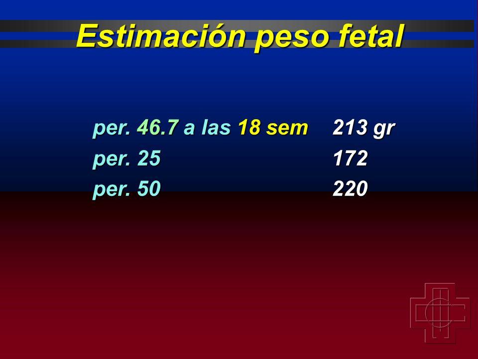 per. 46.7 a las 18 sem213 gr per. 25172 per. 50220 Estimación peso fetal