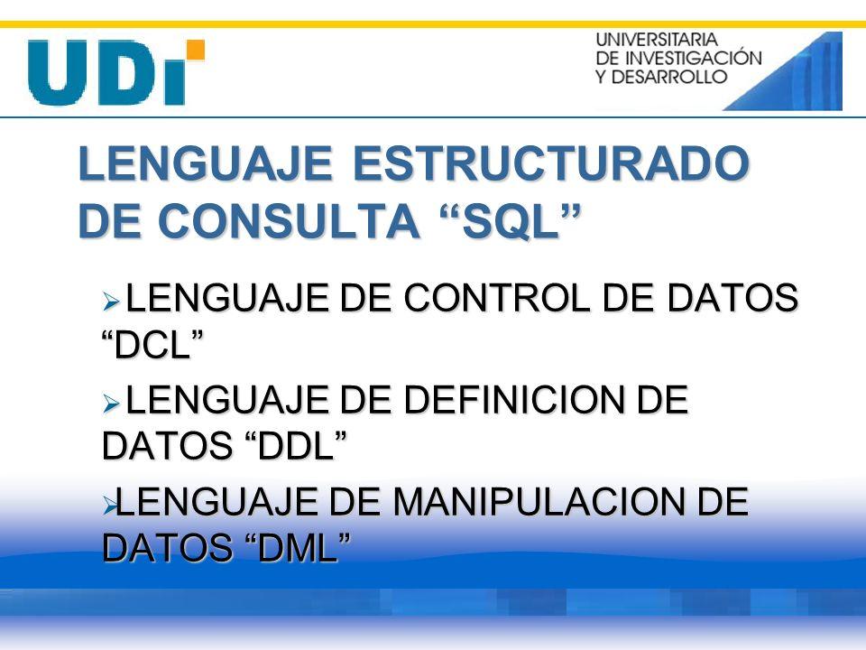 LENGUAJE ESTRUCTURADO DE CONSULTA SQL LENGUAJE DE CONTROL DE DATOS DCL LENGUAJE DE CONTROL DE DATOS DCL LENGUAJE DE DEFINICION DE DATOS DDL LENGUAJE D