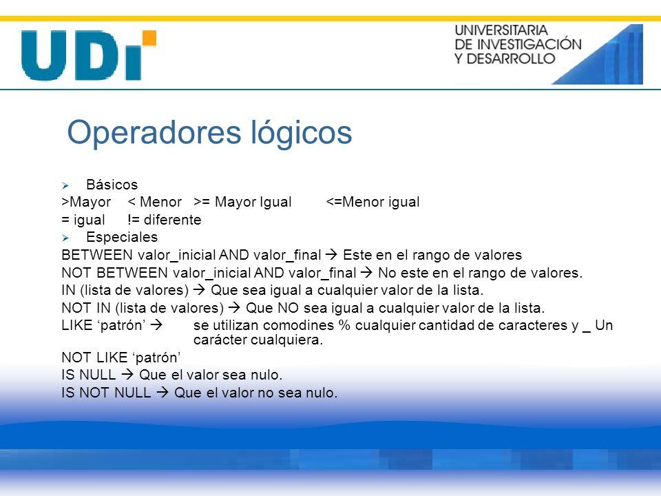 Operadores lógicos Básicos >Mayor = Mayor Igual<=Menor igual = igual!= diferente Especiales BETWEEN valor_inicial AND valor_final Este en el rango de