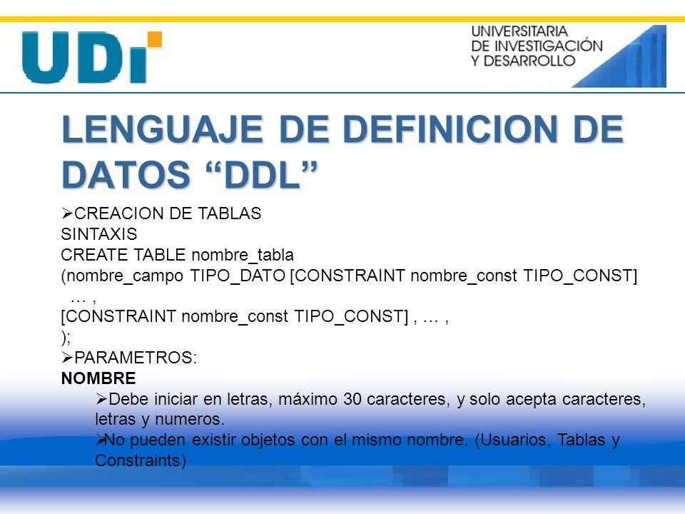 LENGUAJE DE DEFINICION DE DATOS DDL CREACION DE TABLAS SINTAXIS CREATE TABLE nombre_tabla (nombre_campo TIPO_DATO [CONSTRAINT nombre_const TIPO_CONST]