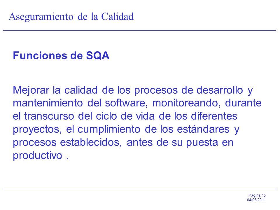 Página 15 04/05/2011 Aseguramiento de la Calidad Funciones de SQA Mejorar la calidad de los procesos de desarrollo y mantenimiento del software, monit