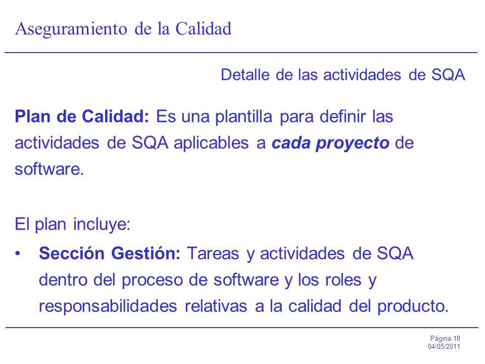 Página 18 04/05/2011 Aseguramiento de la Calidad Detalle de las actividades de SQA Plan de Calidad: Es una plantilla para definir las actividades de S
