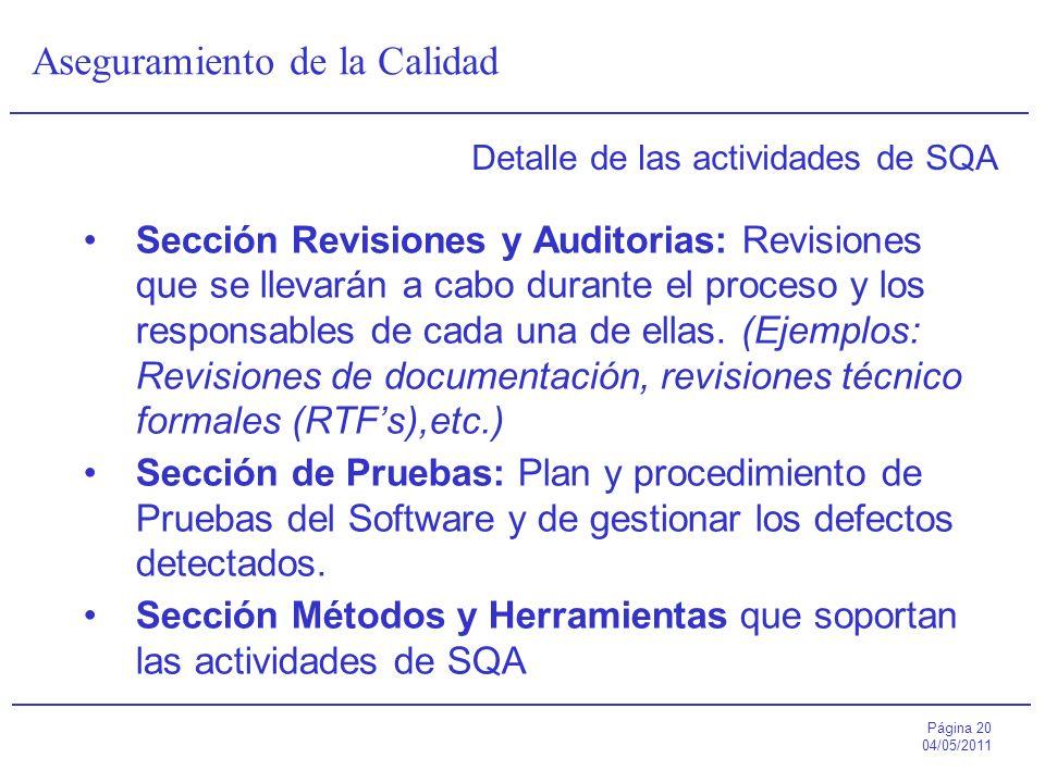 Página 20 04/05/2011 Aseguramiento de la Calidad Detalle de las actividades de SQA Sección Revisiones y Auditorias: Revisiones que se llevarán a cabo