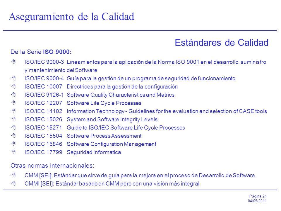 Página 21 04/05/2011 Aseguramiento de la Calidad Estándares de Calidad De la Serie ISO 9000: ISO/IEC 9000-3Lineamientos para la aplicación de la Norma