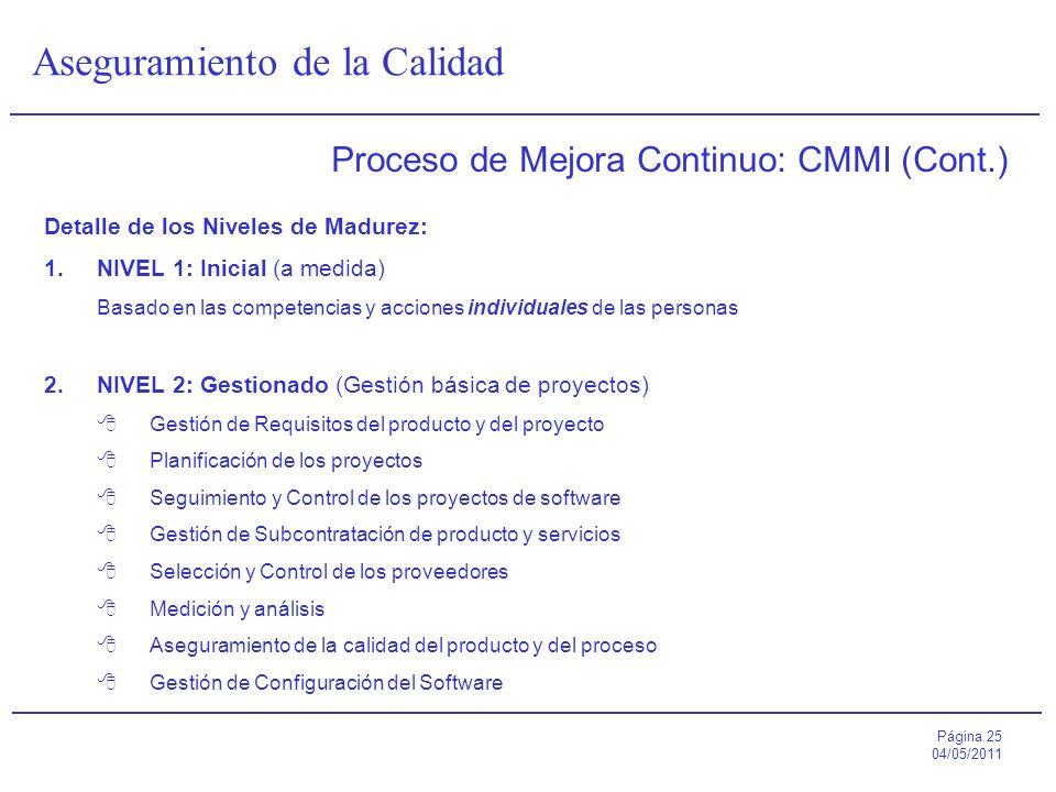 Página 25 04/05/2011 Aseguramiento de la Calidad Proceso de Mejora Continuo: CMMI (Cont.) Detalle de los Niveles de Madurez: 1.NIVEL 1: Inicial (a med