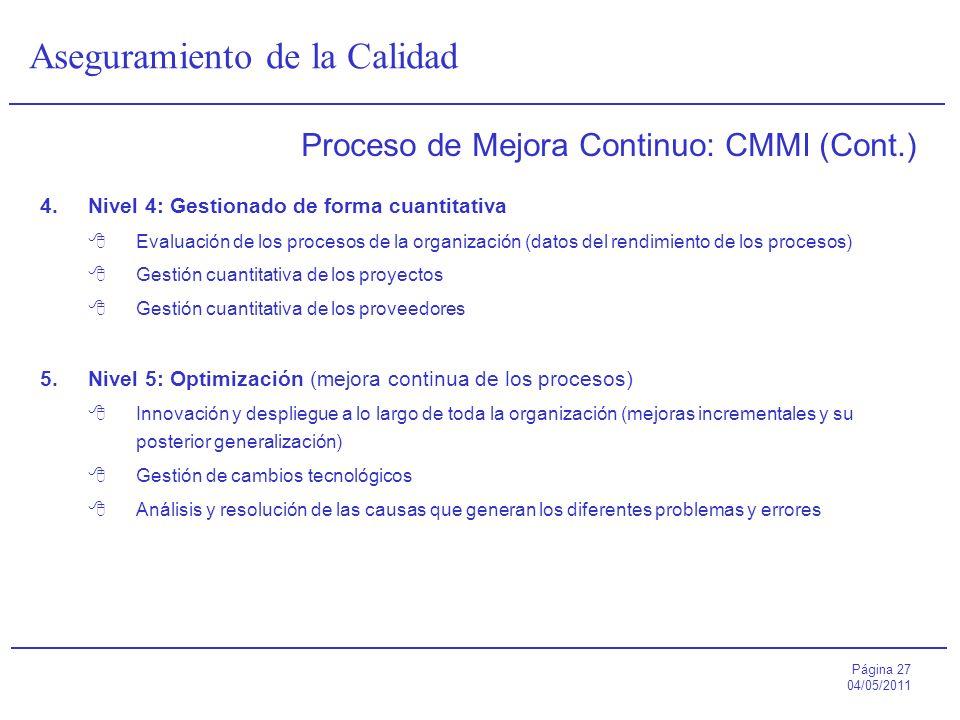 Página 27 04/05/2011 Aseguramiento de la Calidad Proceso de Mejora Continuo: CMMI (Cont.) 4.Nivel 4: Gestionado de forma cuantitativa Evaluación de lo
