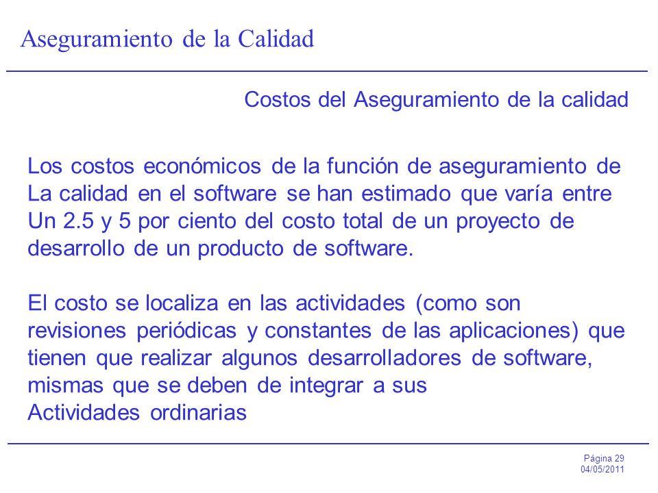 Página 29 04/05/2011 Aseguramiento de la Calidad Costos del Aseguramiento de la calidad Los costos económicos de la función de aseguramiento de La cal