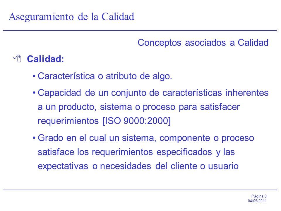 Página 9 04/05/2011 Aseguramiento de la Calidad Conceptos asociados a Calidad Calidad: Característica o atributo de algo. Capacidad de un conjunto de