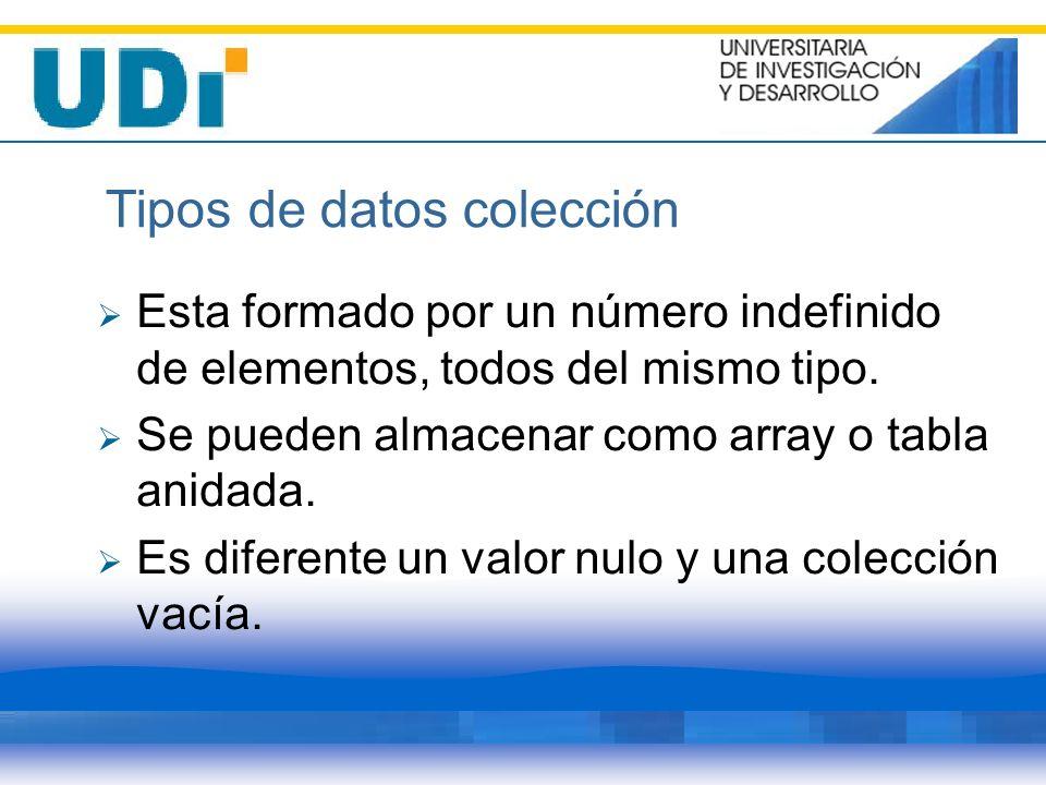 Tipos de datos colección Esta formado por un número indefinido de elementos, todos del mismo tipo. Se pueden almacenar como array o tabla anidada. Es