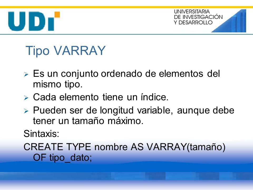 Tipo VARRAY Es un conjunto ordenado de elementos del mismo tipo. Cada elemento tiene un índice. Pueden ser de longitud variable, aunque debe tener un