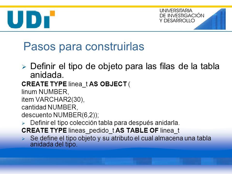 Pasos para construirlas Definir el tipo de objeto para las filas de la tabla anidada. CREATE TYPE linea_t AS OBJECT ( linum NUMBER, item VARCHAR2(30),