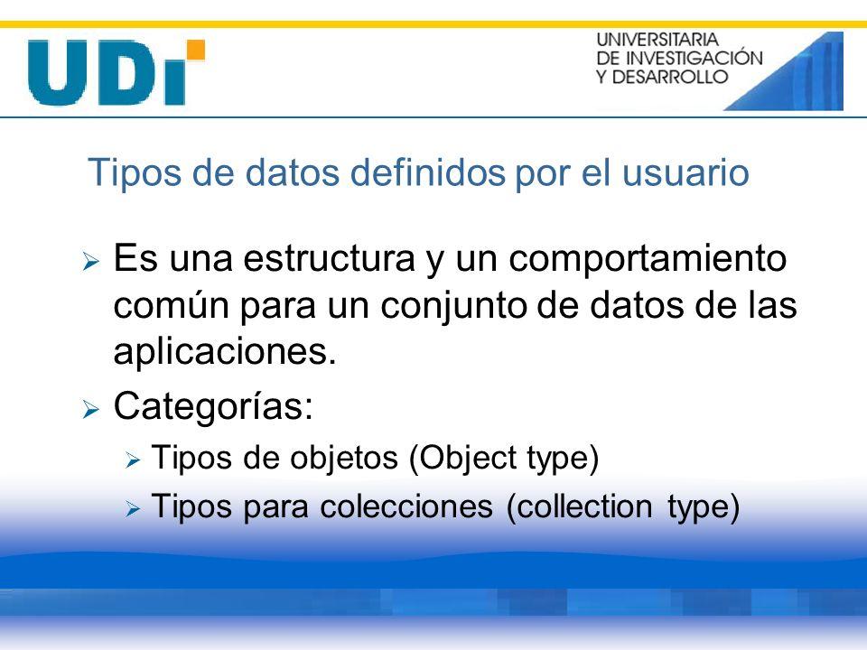 Tipos de datos definidos por el usuario Es una estructura y un comportamiento común para un conjunto de datos de las aplicaciones. Categorías: Tipos d