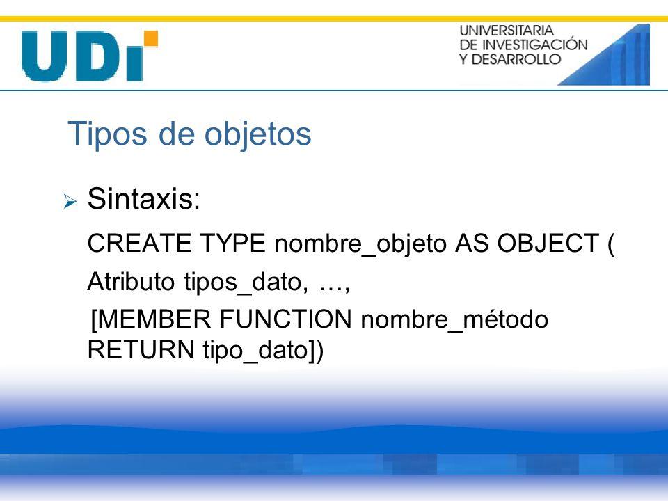 Tipos de objetos Sintaxis: CREATE TYPE nombre_objeto AS OBJECT ( Atributo tipos_dato, …, [MEMBER FUNCTION nombre_método RETURN tipo_dato])