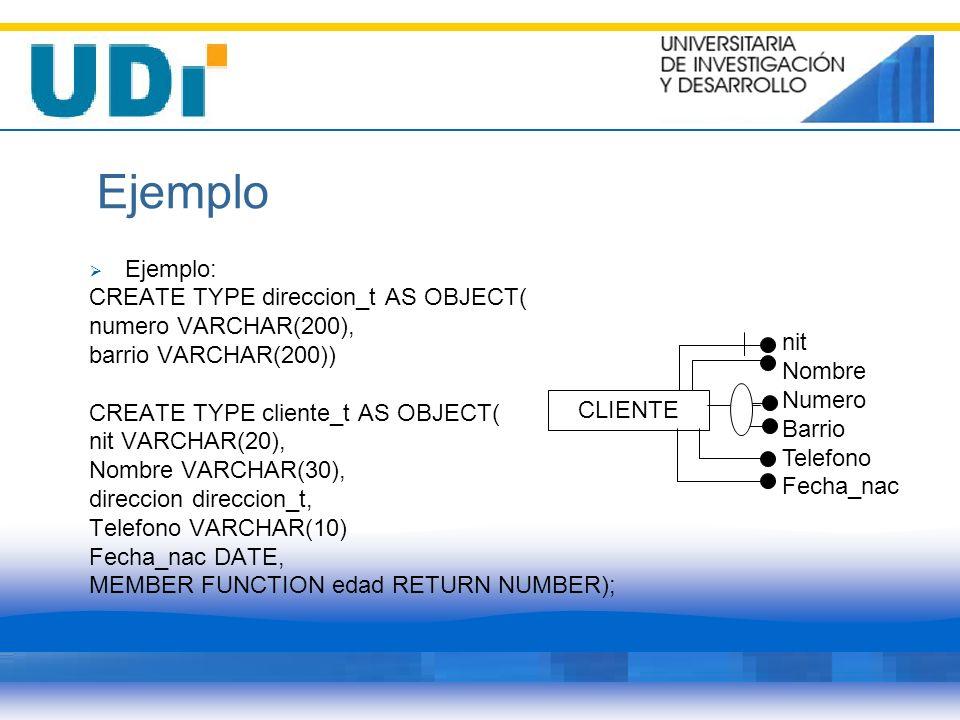 Ejemplo Ejemplo: CREATE TYPE direccion_t AS OBJECT( numero VARCHAR(200), barrio VARCHAR(200)) CREATE TYPE cliente_t AS OBJECT( nit VARCHAR(20), Nombre