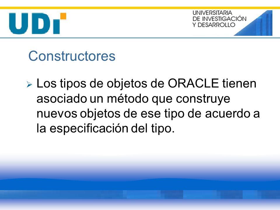 Constructores Los tipos de objetos de ORACLE tienen asociado un método que construye nuevos objetos de ese tipo de acuerdo a la especificación del tip