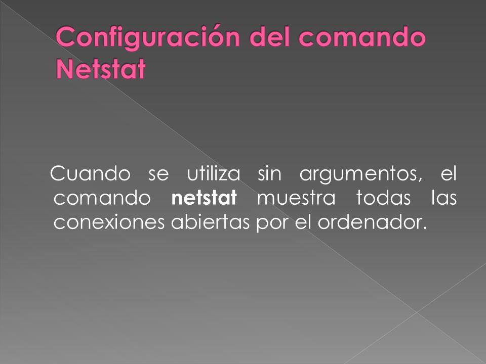 Cuando se utiliza sin argumentos, el comando netstat muestra todas las conexiones abiertas por el ordenador.