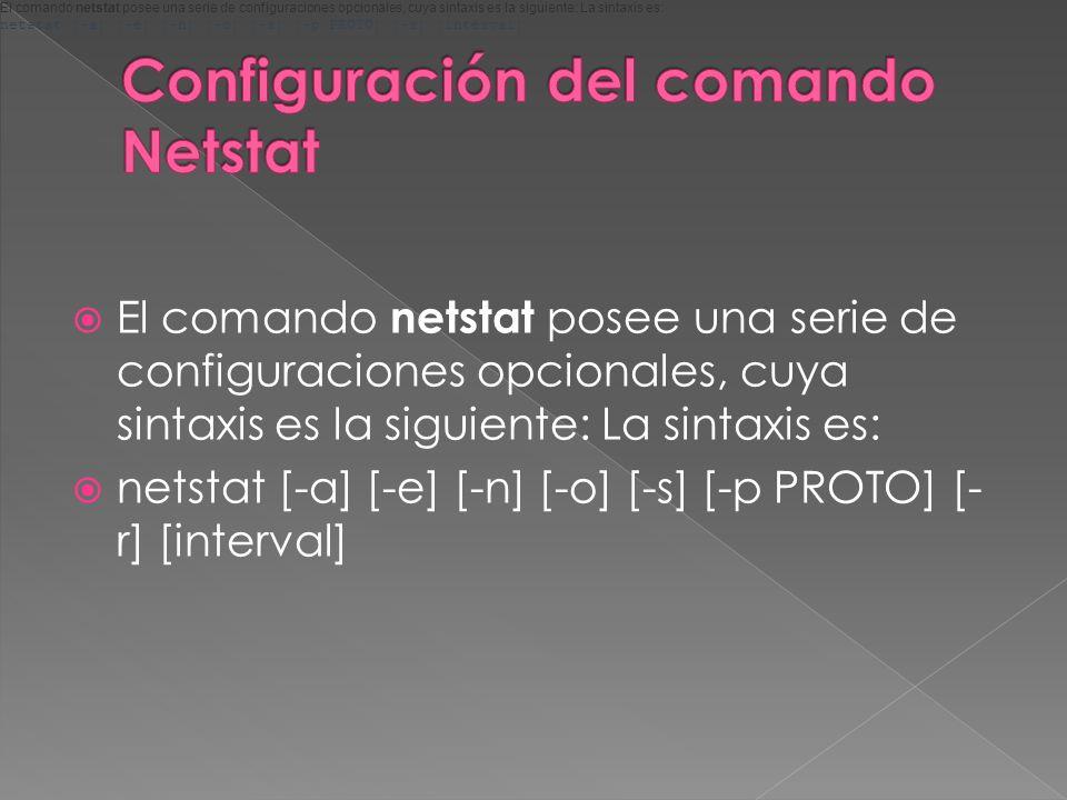 El comando netstat posee una serie de configuraciones opcionales, cuya sintaxis es la siguiente: La sintaxis es: netstat [-a] [-e] [-n] [-o] [-s] [-p PROTO] [- r] [interval] El comando netstat posee una serie de configuraciones opcionales, cuya sintaxis es la siguiente: La sintaxis es: netstat [-a] [-e] [-n] [-o] [-s] [-p PROTO] [-r] [interval]